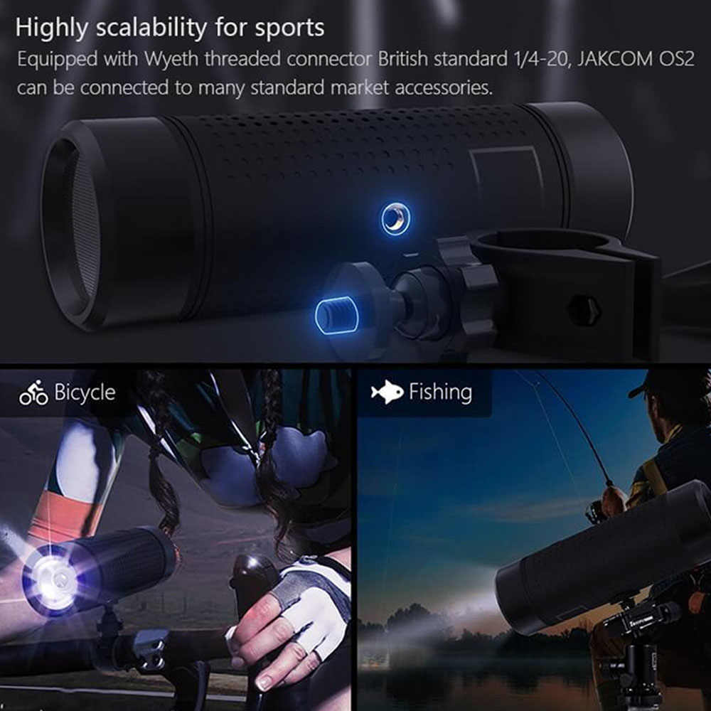 Jakcom OS2 Outdoor Bluetooth Speaker Waterproof 5200mAh External Bicycle Battery Portable Subwoofer Bass Speaker LED Light + Bicycle Mount