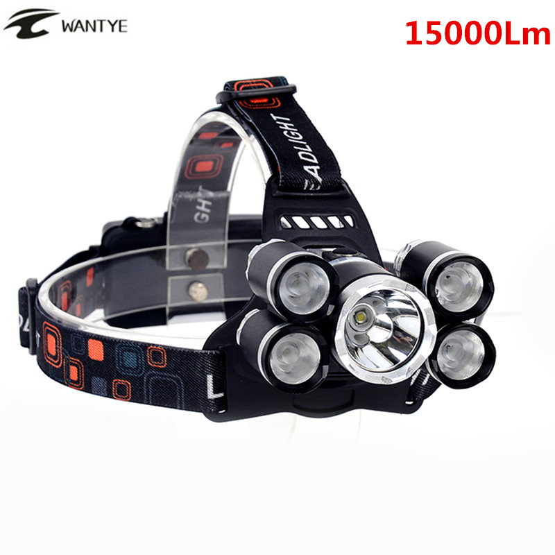 15000Lm LED Head Lamp Light XML T6+4R5 Headlamp Rechargeable 18650 Head Flashlight Torch Camping Fishing Hunting Lantern cree xml l2 led zoomable headlamp red green blue fishing 4 mode head lamp light torch hunting headlight 18650 battey usb charger