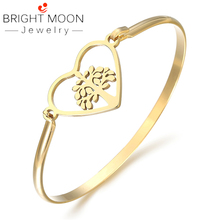 купить BRIGHT MOON New Fashion Women Accessories Silver Gold Lover Tree of Life Cuff Bracelets Bangles Rose Gold Color Stainless Steel дешево