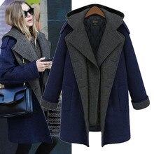 Новое осенне-зимнее женское пальто Vestido размера плюс, свободное двубортное плотное шерстяное пальто с капюшоном для женщин, большая верхняя одежда