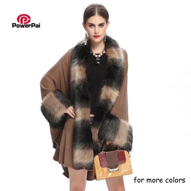 Boa Qulity Casaco De Pele Longo Grandes Mulheres Da Moda Lã Variegada Parka Lapela Outwear Inverno Luxuoso Do Falso Fox Fur Cape Camisola manto