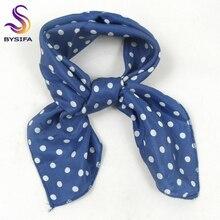 [BYSIFA] женские темно-синие квадратные шарфы, дизайн, весна-осень, Модный маленький шелковый шарф в горошек, женские шарфы для шеи, 55*55 см