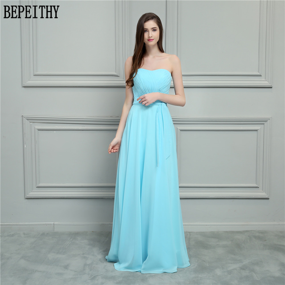 BEPEITHY New Arrival Vestido De Festa Longo Scoop Pleats Chiffon A-Line Prom Dresses Long Bridesmaid Dresses 2018