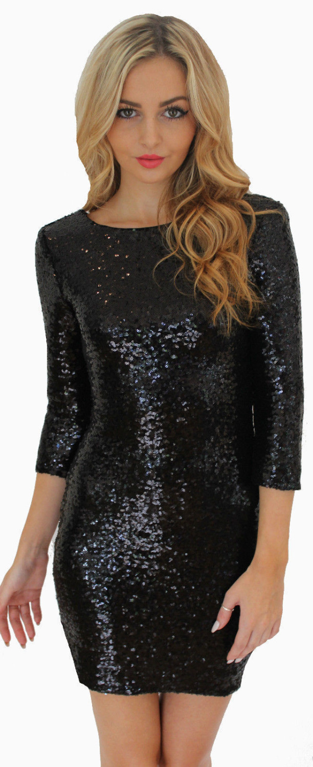 Kim Kardashian Black Sequin Dress