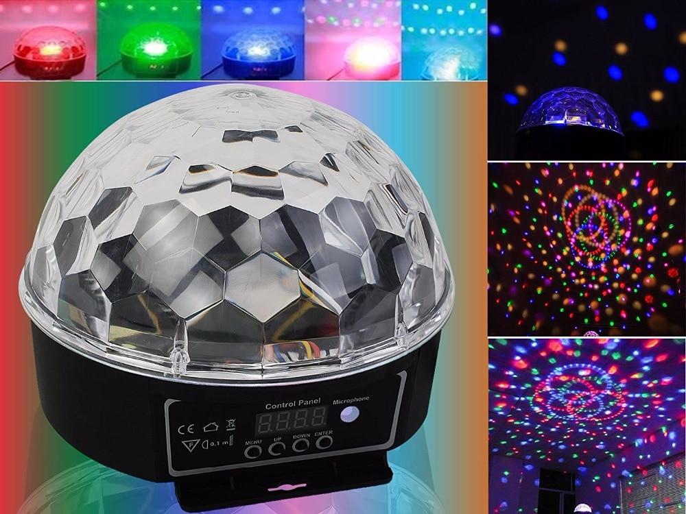 где купить 1PCS 6 LED Color Chang remote control Disco Dj Stage Lighting 18W LED RGB Crystal Magic Ball Effect Light DMX512 KTV Party по лучшей цене
