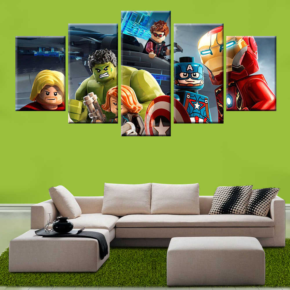 5 panel modern HD printing modular game Lego Avengers painting poster wall art children's room living room decorative painting