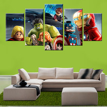 5 panel modern HD printing modular game Lego Avengers painting poster wall art children's room living room decorative painting(China)