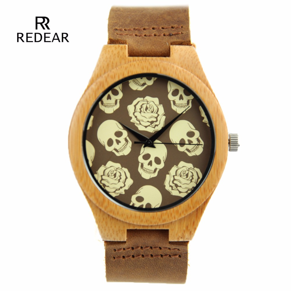 Halloween Horror Skull Bamboo Wood Watches Lover Wome
