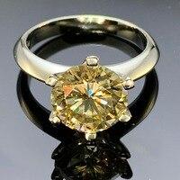 GIGAJEWE Муассанит кольцо 2.5ct 9 мм желтый круглый Cut 925 серебро лаборатории Ювелирные изделия с алмазами символ любви женщина подруга ухаживания
