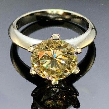 a0fc1934d020 GIGAJEWE Moissanite anillo 2.5ct 9mm amarillo redondo corte plata 925  laboratorio joyas de diamantes amor mujer novia cortejo regalo
