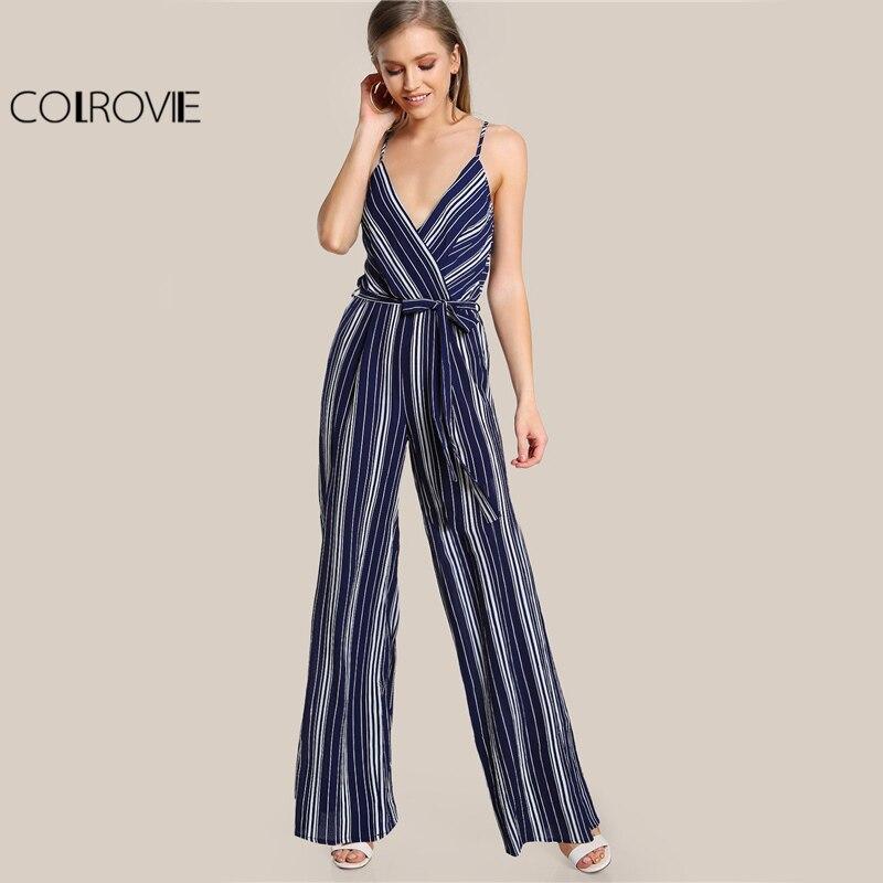 COLROVIE Striped Belt Elegant Slip Jumpsuit 2017 Women Surplice V Neck Summer Jumpsuit Fashion New Wide