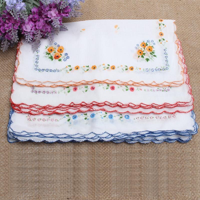 12Pcs Vintage Cotton Quadrate Hankies Floral Pattern Handkerchief Pocket Towel For Women Girls 30*30cm  New