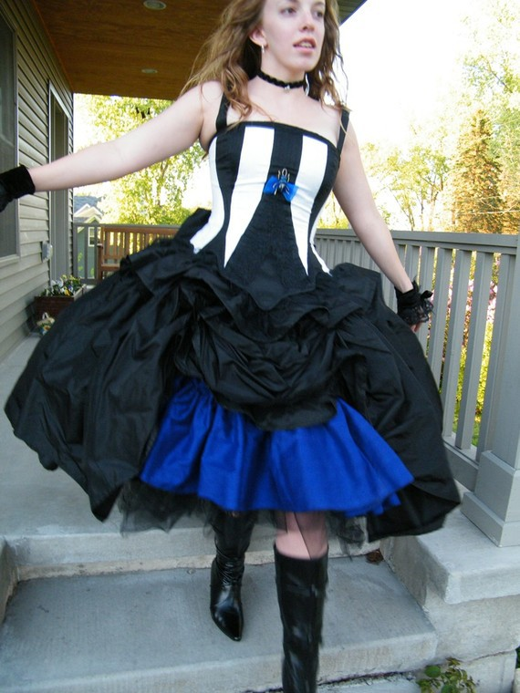 steampunk black and white stripes corset bodice blue petticoat halloween costume dresschina - Halloween Petticoat