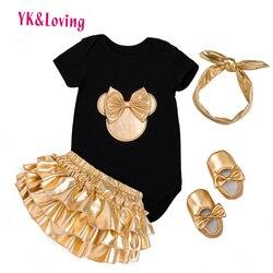 2018 Baby Mädchen Kleidung 4 stücke Kleidung Sets Schwarz Baumwolle Strampler Goldene Rüsche-pflanze-kurzschlüsse Schuhe Stirnband Neugeborene Kleidung