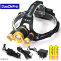 Zoom Headlamp1*T6+2*R5 LED light power 18650 battery Zoom waterproof Outdoor Camping Fishing Hunting High Rechargeable Headlight