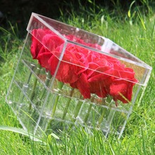 Clear Acrylic Rose Flower Box Luxury Handmade Gift Box Vase