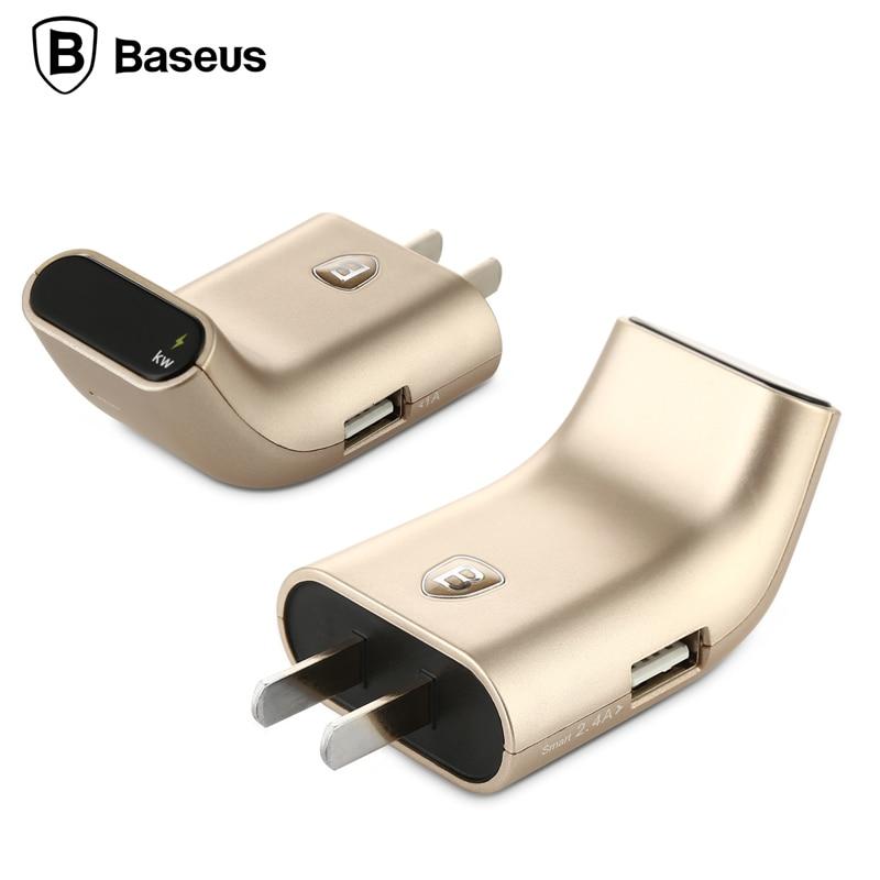 imágenes para Original baseus 2 puertos 5 v portátil de viaje usb cargador de pared adaptador con pantalla digital para iphone 6 & 6 plus/galaxy S6