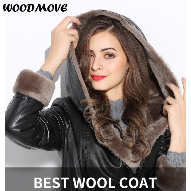 6d7080e3f US $779.0  Women Winter Genuine Leather Jacket Female Natural Sheep Fur  Jacket Sheepskin Coat Real Leather Jacket with Belt Hoodies Jacket-in  Leather ...