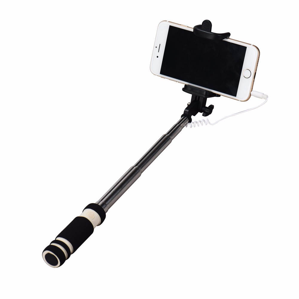 Stainless Steel Wired Selfie Stick Mini Extendable Handheld Fold Self-portrait Stick Holder Monopod For iPhone Mobile Phones #S