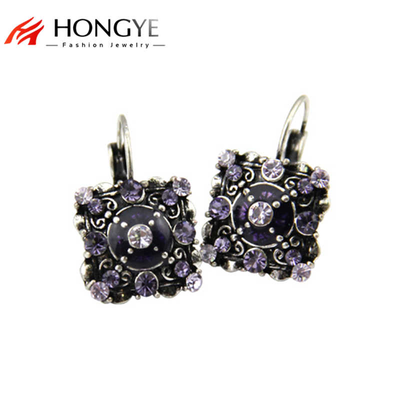 2018 Newest Beads Classic Vintage Women Magic Square-shaped Bohemia Crystal Pendant Statement Drop Earrings Jewelry For Girls