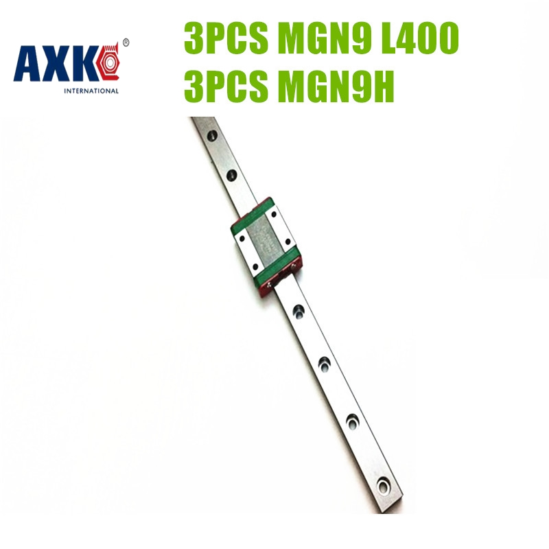 AXK MGN9 Linear Motion Guide 3 Sets Kit 3pcs MGR9-400mm Miniature Linear Giude + 3PCS MGN9H Linear Block For CNC Part axk mr12 miniature linear guide mgn12 long 400mm with a mgn12h length block for cnc parts free shipping