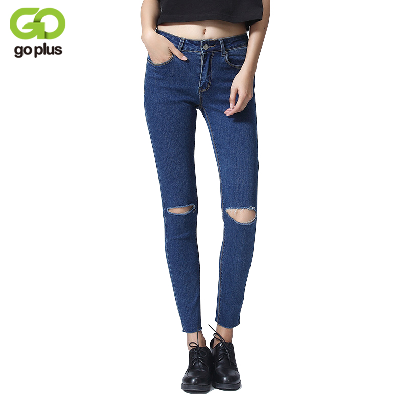 GOPLUS Summer Style Hole Ripped Jeans Women Cool Denim High Waist Pants Ankle-length Female Skinny Blue White Casual Jeans C4620 summer ripped hole jeans ankle length pants women high waist loose vintage harem denim pants plus size casual blue jeans female