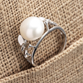 [YKIN] Natural Freshwater Pearl Ring 925 Sterling Silver Butterfly Pearl Ring Lady 2016 Christmas Gift
