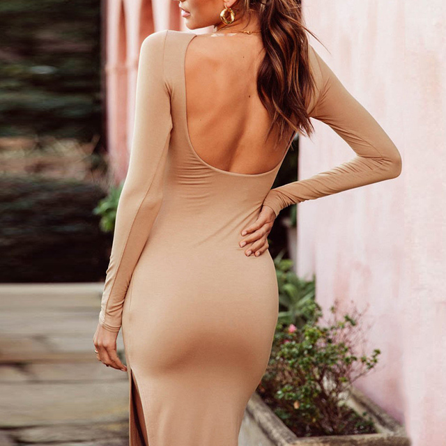 2018 г. модные, элегантные одежда с длинным рукавом спинки Сексуальная посылка бедра клуб вечерние платье Разделение облегающее платье Vestidos SJ775t