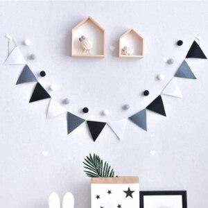 Image 1 - Banderines grises y blancos de calidad, pancarta de banderines para boda/Día de San Valentín/Cumpleaños, banderas de fiesta, guirnalda colgante, suministros de decoración