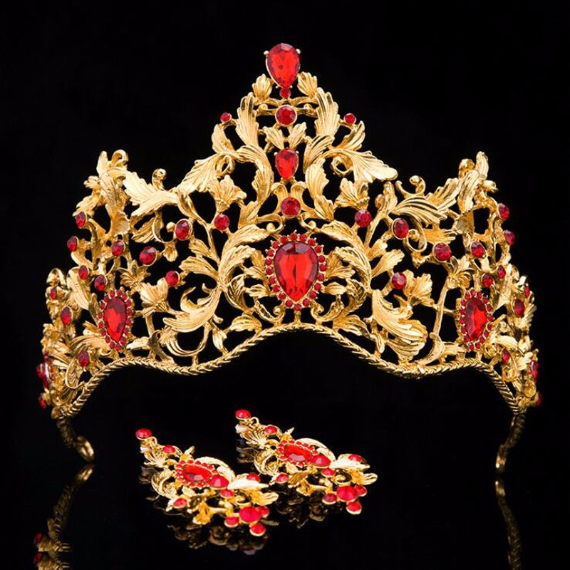 2017 Vintage Gold Wedding Hair Accessories Alloy Bridal Tiaras Baroque King Queen Crown Red Crystal Tiaras Crowns With Earrings 2017 new pink gold silver king crowns handmade tiaras brides headband crystal bridal diadem queen crown wedding hair accessories