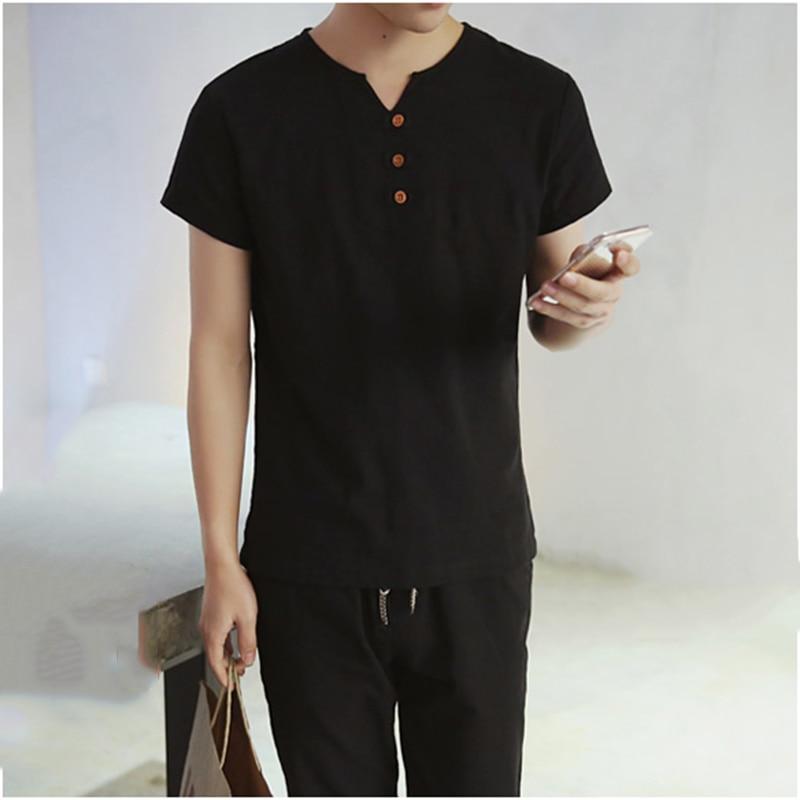 Herre T-shirt Kortærmet Japansk Linned Bomuldstrøje til mænd Blød - Herretøj - Foto 1