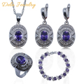 Purple Amethyst White Crystal 925 Sterling Silver Women Jewelry Set Bracelet/Earrings/Pendant/Necklace/Ring Free Gift A16