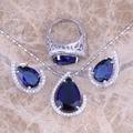 Azul Creado Zafiro Blanco CZ Joyería Conjuntos Pendientes Colgante Anillo de Plata Tamaño 6/7/8/9/10/11/12 S0454