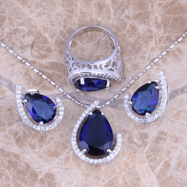 Blue  Cubic Zirconia White CZ Silver Jewelry Sets Earrings Pendant Ring Size 6 / 7 / 8 / 9 / 10 / 11 / 12  S0454