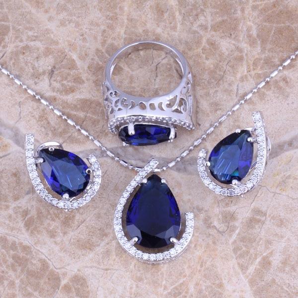 Zubonia Blue CZ Cubic جواهرات نقره ای ست گوشواره حلق آویز اندازه 6/7/8/9/10/11/12 S0454