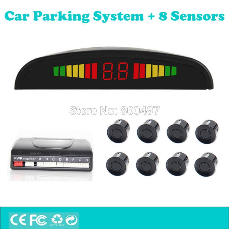 Voiture Système D'aide Au Stationnement avec 8 Capteurs de Stationnement Coloré LED Automatique D'affichage De Recul et Radar Avant Système D'alarme Kit