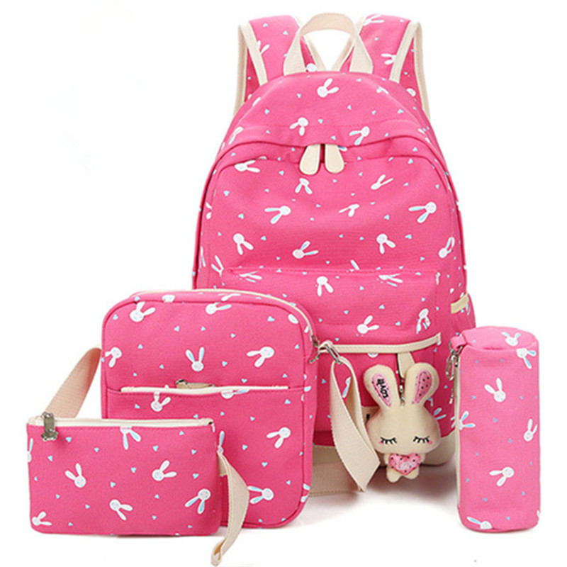 4pcs/sets Backpack Cartoon Rabbit Printing School Bag Canvas Schoolbags For Teenage Cute Girls Bookbag Children