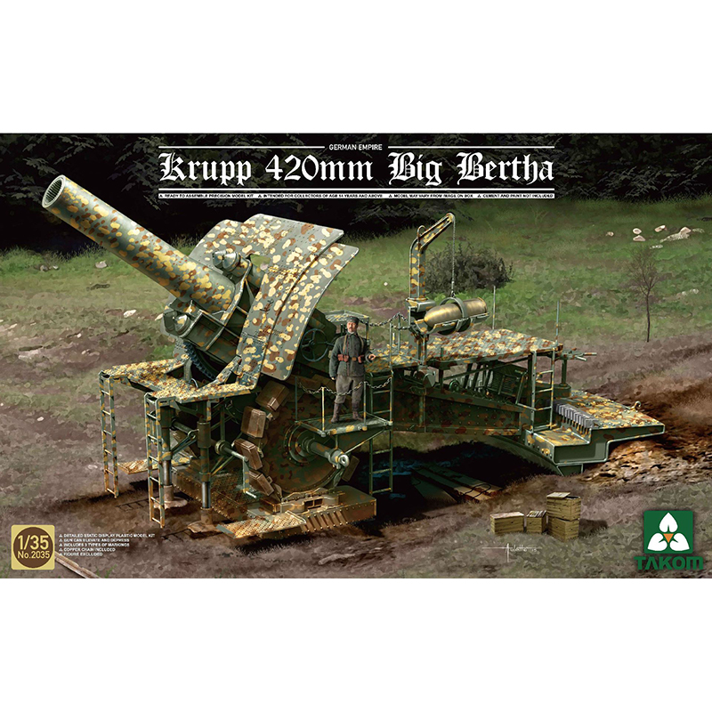 1 35 TAKOM 2035 German Empire 420mm Big Bertha Siege Howi tzer model hobby