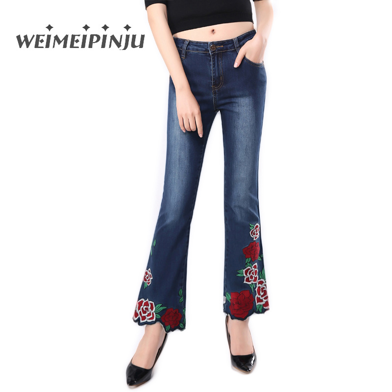 Women's Jeans Spring New Casual Stretch Denim Flare Pants Floral Embroidery Mid Waist Soft Jean Female Trousers Plus Size 26-36 2017 spring new women sweet floral embroidery pastoralism denim jeans pockets ankle length pants ladies casual trouse top118