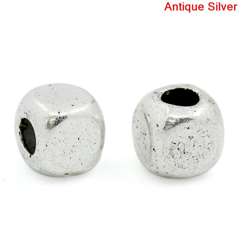 ,hole:approx 1.5mm,40 Pcs New 1/8 Competent Zinc Metal Alloy Spacer Beads Cube Antique Silver Color Plated About 4mm x 4mm 1/8