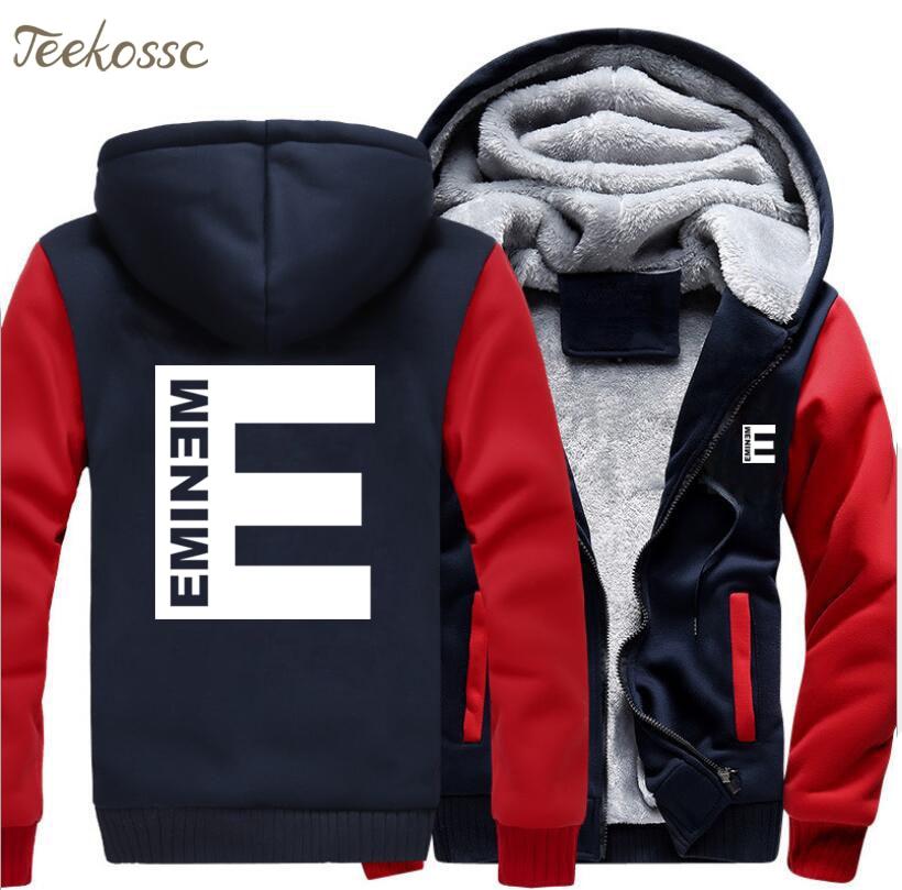 Eminem Hoodie Men Punk Rock Hooded Sweatshirt Kpop Coat New Fashion Winter Thick Fleece Warm Zipper Jackets Hip Hop Streetwear