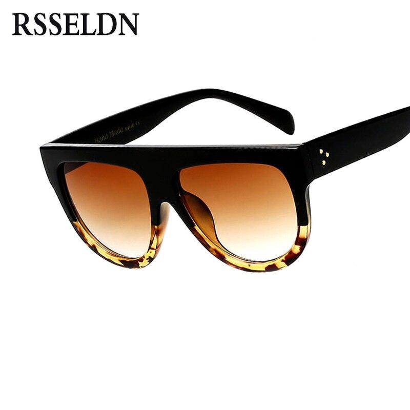 RSSELDN Flat Top Übergroßen Quadratischen Sonnenbrille Frauen Gradient 2018 Sommer Stil Klassisch Frauen sonnenbrille Big Platz Brillen UV400