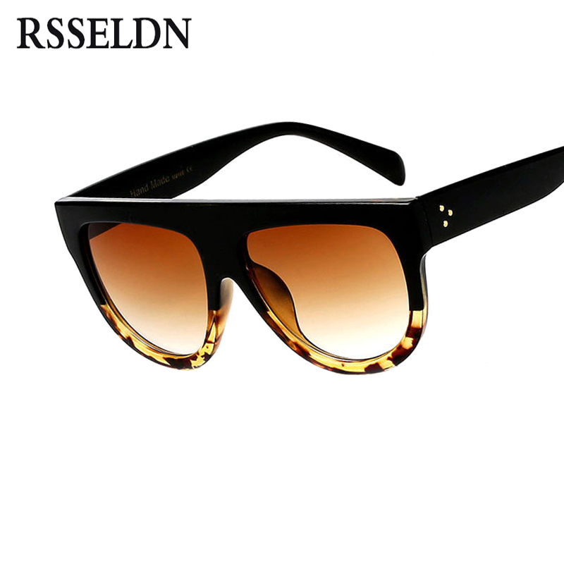 RSSELDN Flat Top Oversized Square Sunglasses Women Gradient 2018 Summer Style Classic Women Sun glasses Big Square Eyewear UV400