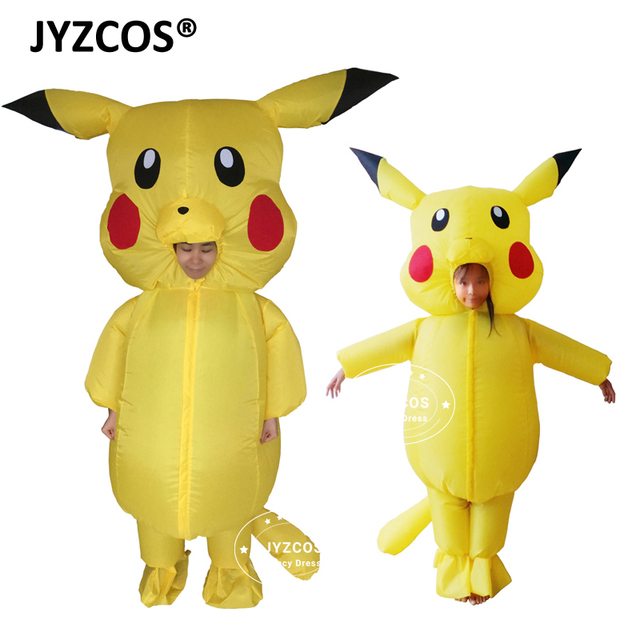 jyzcos inflatable pikachu costumes for child kids adult pokemon cosplay halloween outfit boys girls mascot fancy