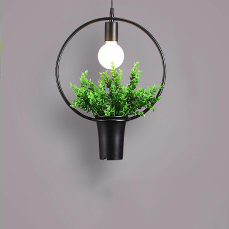 Retro Iron Originality Pendant Lights Plant Art Restaurant Living Room Simple Pot Parlor Study Multiple Shapes Pendant Lights