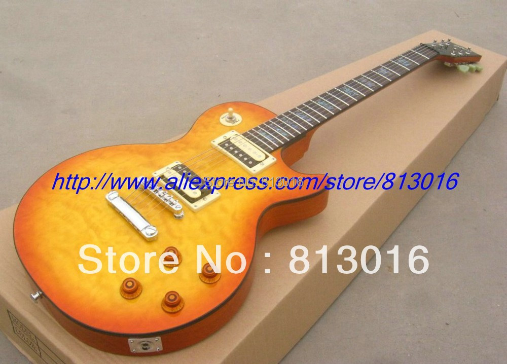 New arrived Custom Shop Tak Matsumo LP standard orange Burst with quilt flame on body top, Electric Guitar !Free shipping !!