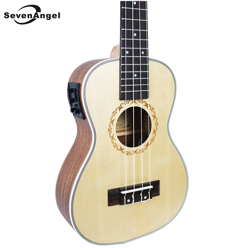 SevenAngel 23 inch Concert Acoustic Electric Ukulele Mini Hawaiian 4 Strings guitar Ingman spruce panel Ukelele With pickup EQ concert acoustic electric ukulele 23 inch high quality guitar 4 strings ukelele guitarra handcraft wood zebra plug in uke tuner