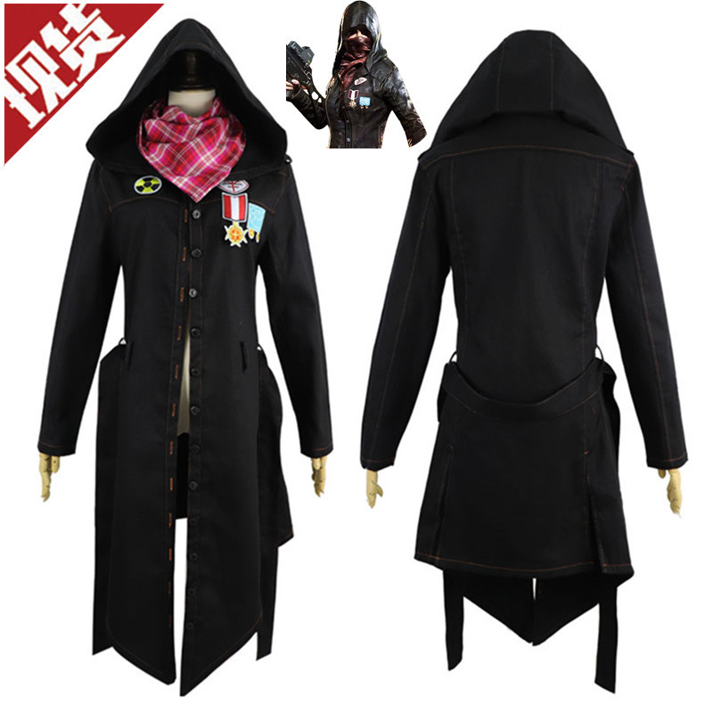 2019 Game PUBG Jackets Fashion For Game PUBG Winner Cosplay Trench Coat Black Print Button hooded Jacket Cloak New Costumes