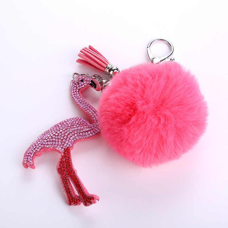 Strass Animais pássaro Suporte Chave Do Carro chaveiro Pingente Faux Fur bola Pompom Bolsa Charme Acessórios de Moda Presente da jóia K1630