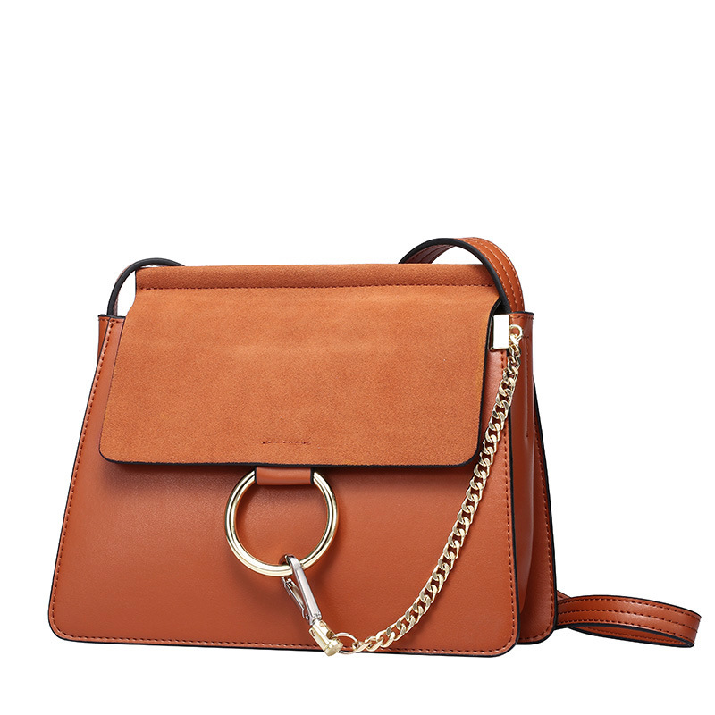 ФОТО Women's genuine leather metal ring handbag nubuck material simplicity luxury fashion tote cross body bags money purse bolsa
